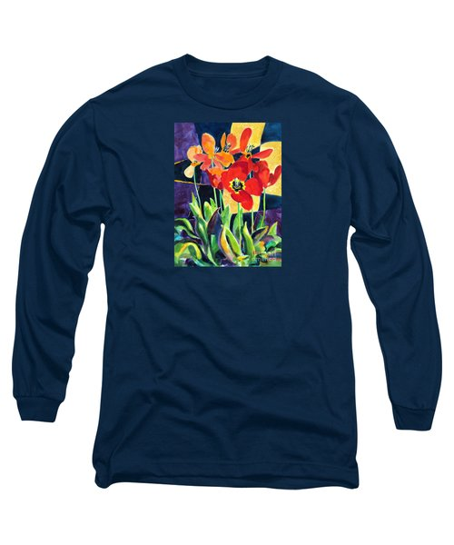 Bold Quilted Tulips Long Sleeve T-Shirt
