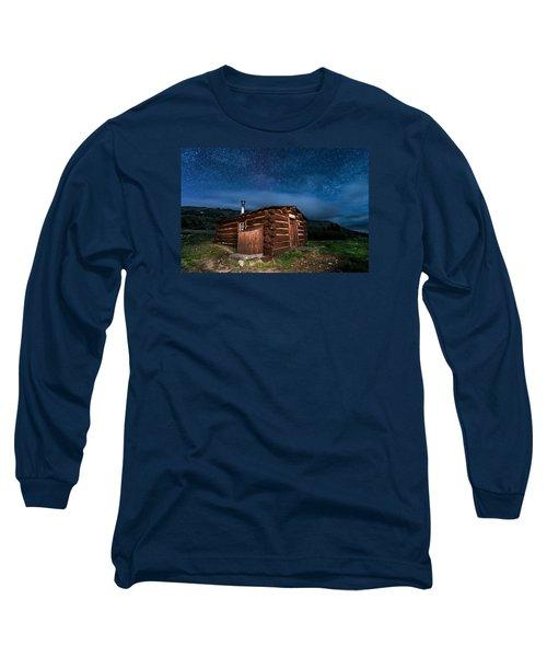 Boreas Pass Cabin Moonlit Night Long Sleeve T-Shirt by Michael J Bauer