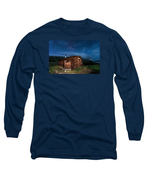 Boreas Pass Cabin Moonlit Night Long Sleeve T-Shirt