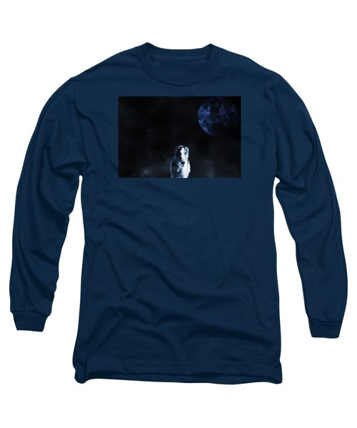 Borzoi Wolf-hound, Hunting Under A Full Moon Long Sleeve T-Shirt by Christian Lagereek