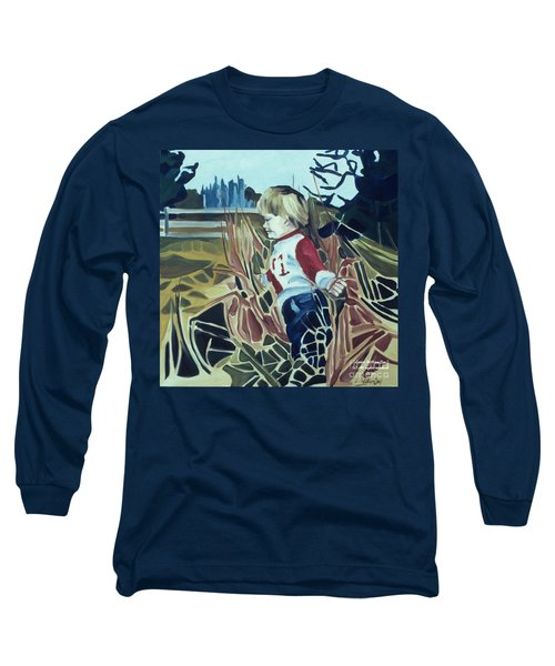 Boy In Grassy Field Long Sleeve T-Shirt