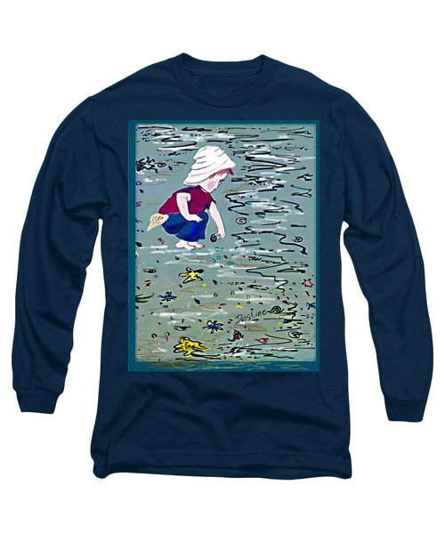 Long Sleeve T-Shirt featuring the painting Boy On Beach by Desline Vitto