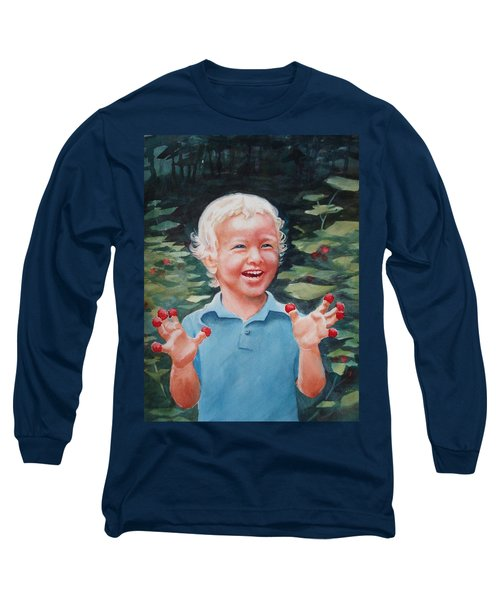 Boy With Raspberries Long Sleeve T-Shirt by Marilyn Jacobson