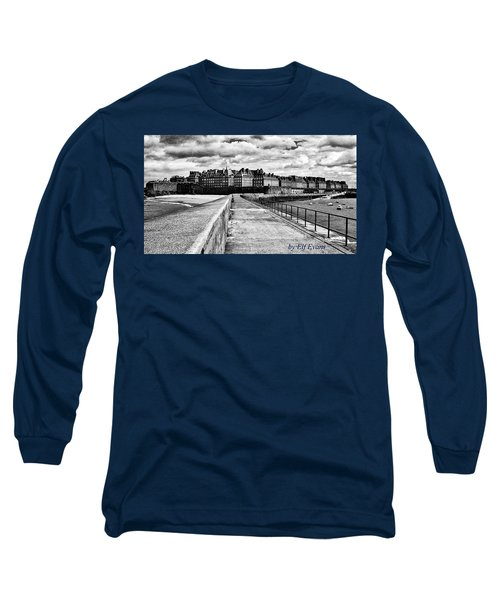 Long Sleeve T-Shirt featuring the photograph Breakwater Walkway To Intra Muros by Elf Evans