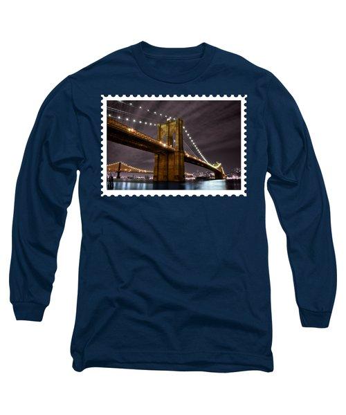 Brooklyn Bridge At Night New York City Long Sleeve T-Shirt