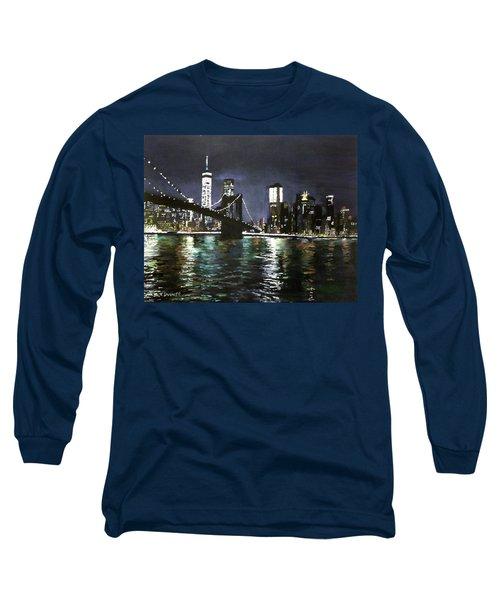 Brooklyn Bridge, East River At Night Long Sleeve T-Shirt