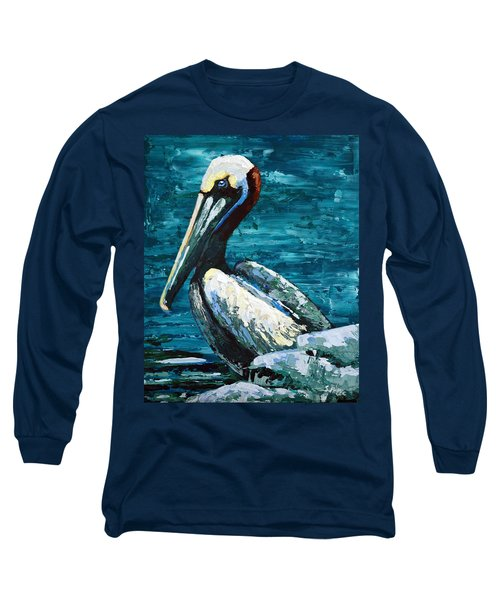 Long Sleeve T-Shirt featuring the painting Brownie On A Seawall by Suzanne McKee