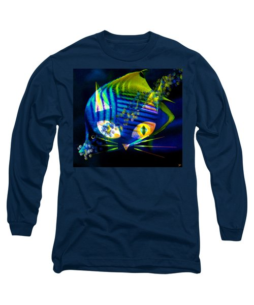 Bubbles The Cat Long Sleeve T-Shirt by David Lee Thompson