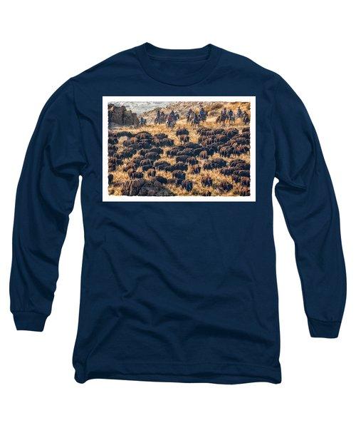 Buffalo Roundup Long Sleeve T-Shirt by Kristal Kraft