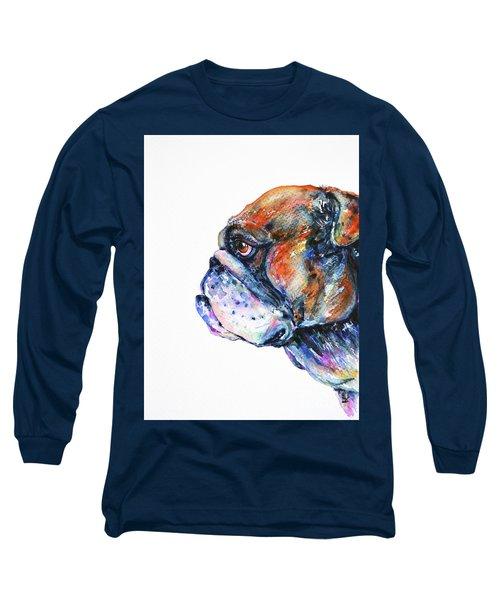 Long Sleeve T-Shirt featuring the painting Bulldog by Zaira Dzhaubaeva