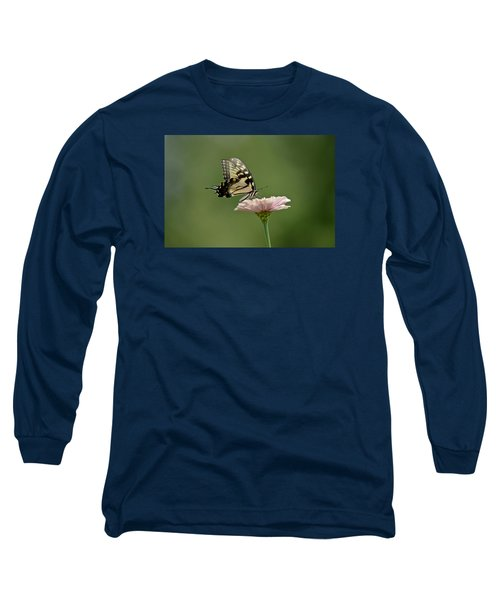 Butterfly On Zinnia Long Sleeve T-Shirt