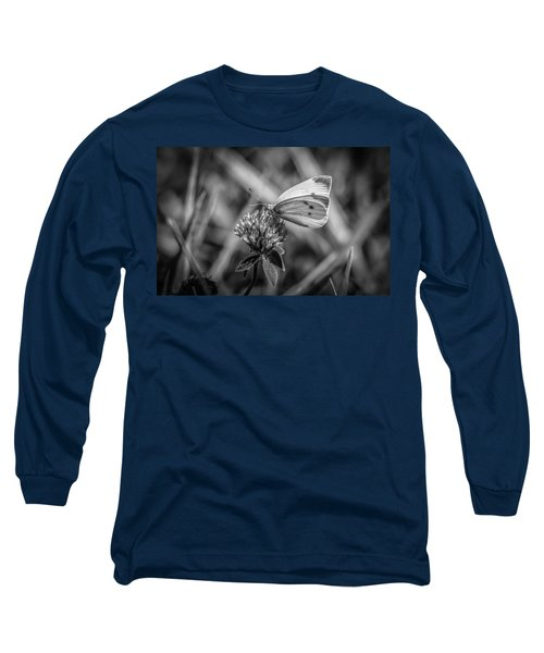 Cabbage White In Gray Long Sleeve T-Shirt by Ray Congrove
