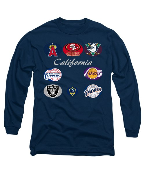 California Professional Sport Teams Collage  Long Sleeve T-Shirt by Movie Poster Prints
