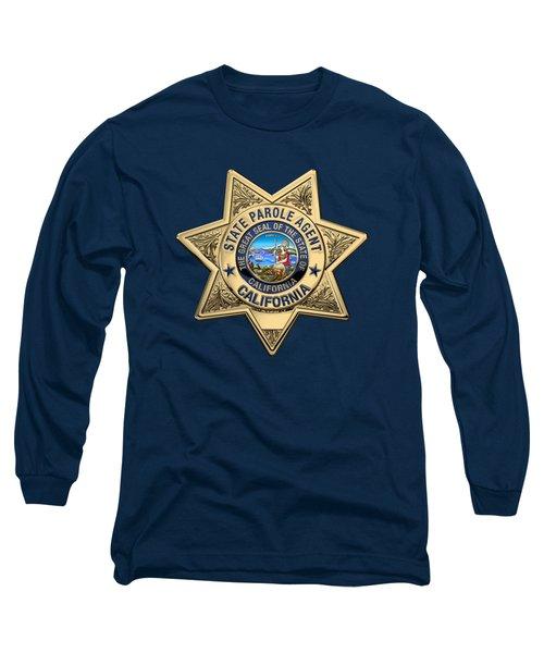 California State Parole Agent Badge Over Blue Velvet Long Sleeve T-Shirt by Serge Averbukh