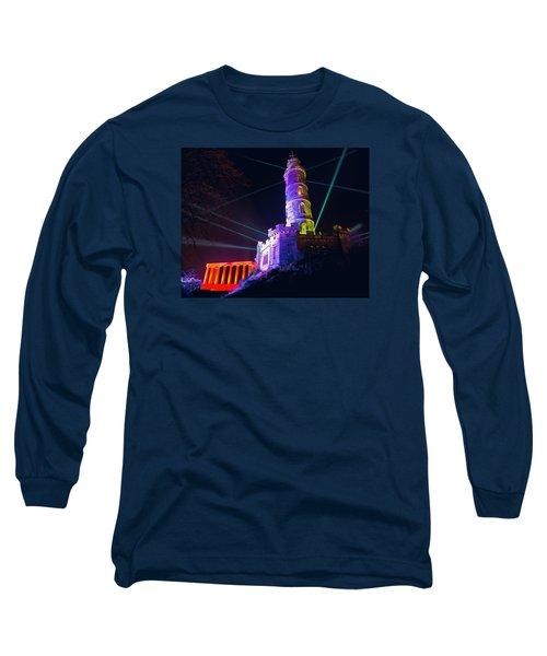 Calton Hill Lightshow Long Sleeve T-Shirt by Ray Devlin