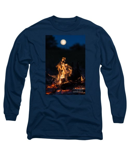 Camp Fire And Full Moon Long Sleeve T-Shirt by Cheryl Baxter