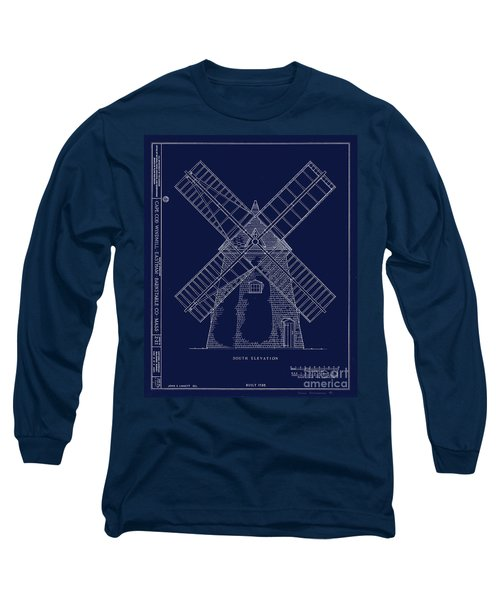 Long Sleeve T-Shirt featuring the photograph Historic Cape Cod Windmill Blueprint by John Stephens