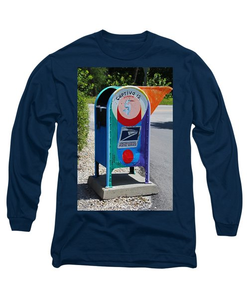 Long Sleeve T-Shirt featuring the photograph Captiva Island Mailbox- Vertical by Michiale Schneider