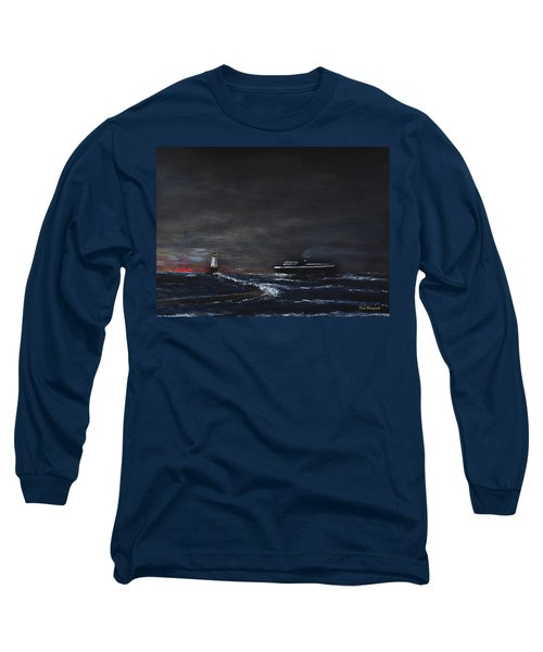 Car Ferry Badger November Crossing Long Sleeve T-Shirt by Dick Bourgault