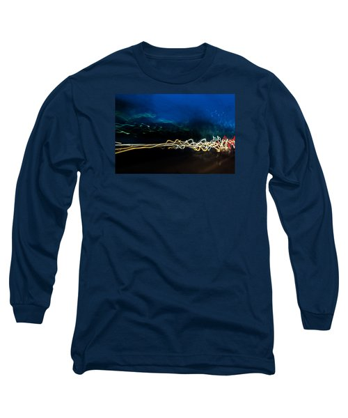 Car Light Trails At Dusk In City Long Sleeve T-Shirt by John Williams