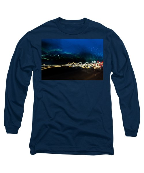 Car Light Trails At Dusk In City Long Sleeve T-Shirt