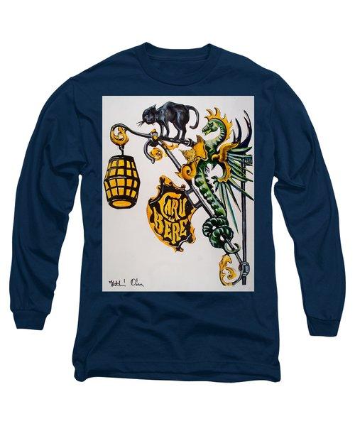 Caru Cu Bere - Antique Shop Sign Long Sleeve T-Shirt by Dora Hathazi Mendes