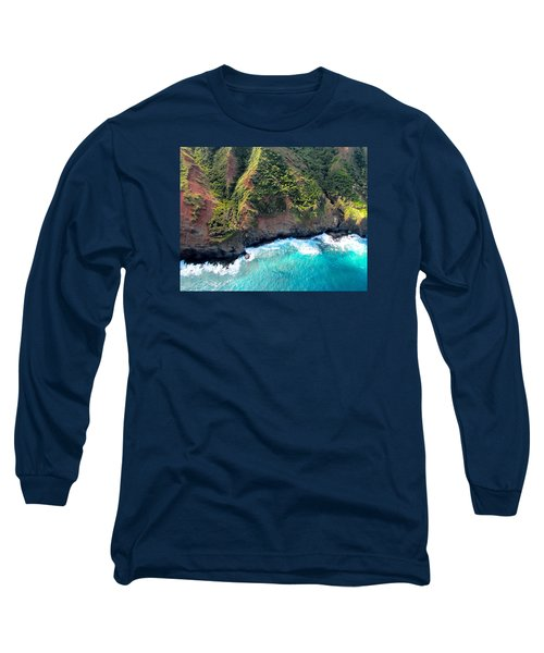 Cascading To The Sea Long Sleeve T-Shirt by Brenda Pressnall