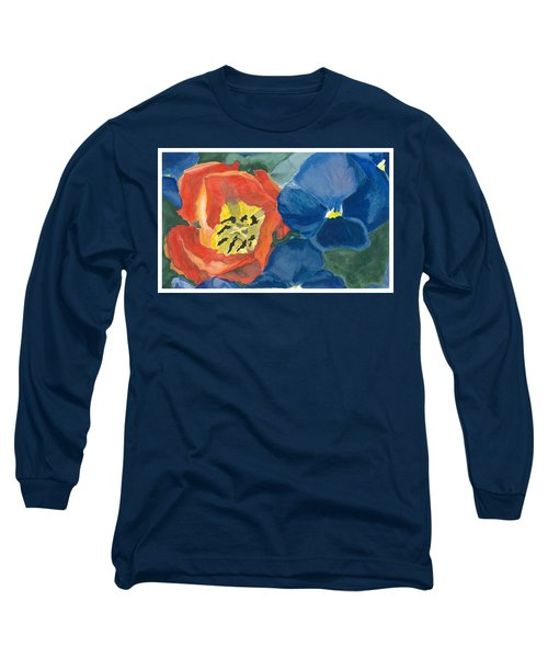Long Sleeve T-Shirt featuring the painting Cat Tulip by Joel Deutsch