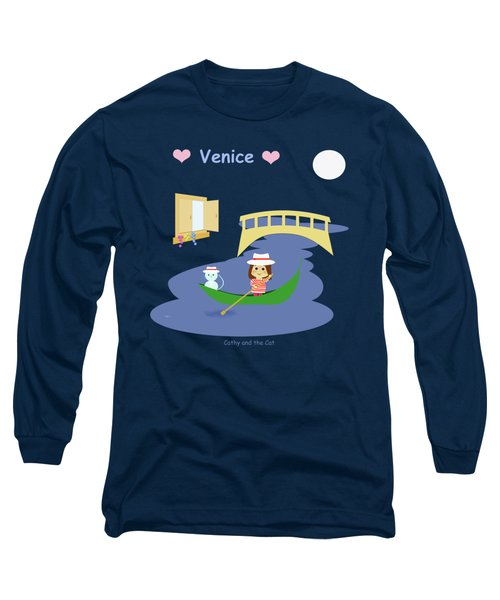 Cathy And The Cat In Venice Long Sleeve T-Shirt