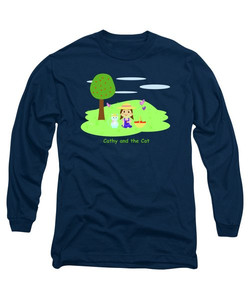 Cathy And The Cat With Apples Long Sleeve T-Shirt