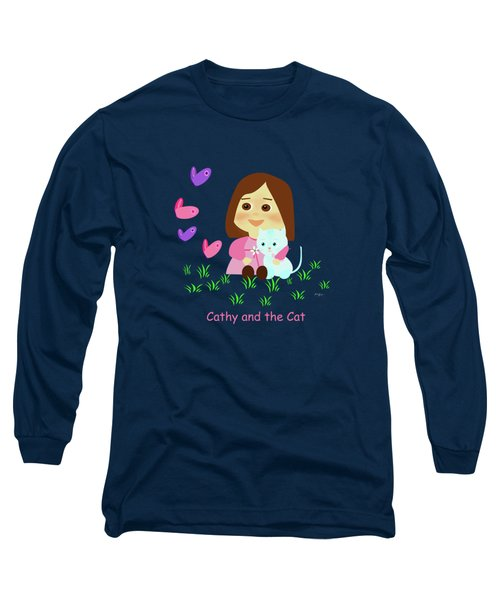 Cathy And The Cat With Butterflies  Long Sleeve T-Shirt