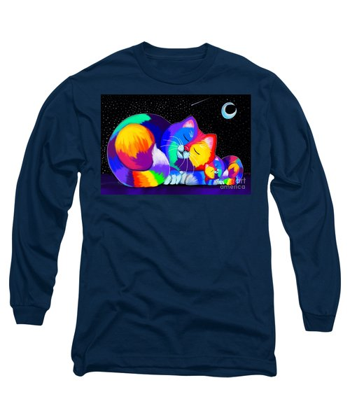 Long Sleeve T-Shirt featuring the drawing Catnaps For Two by Nick Gustafson