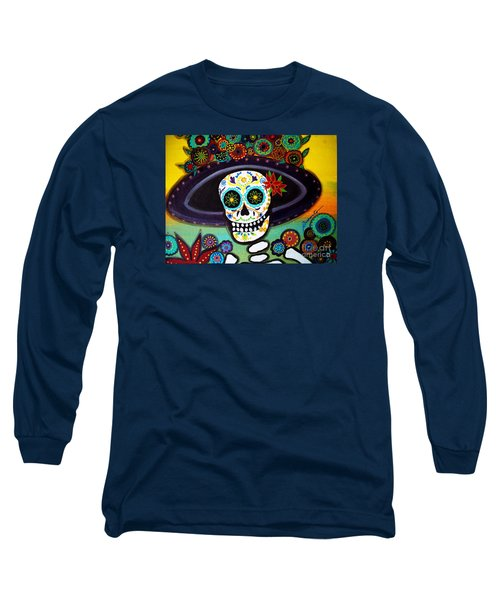 Long Sleeve T-Shirt featuring the painting Catrina by Pristine Cartera Turkus