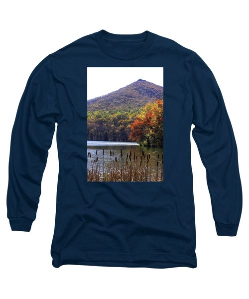 Cattails By Lake With Sharp Top In Background Long Sleeve T-Shirt