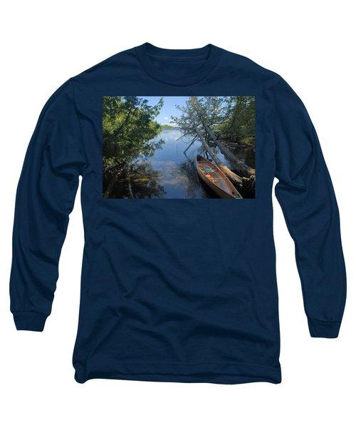 Cedar Strip Canoe And Cedars At Hanson Lake Long Sleeve T-Shirt by Larry Ricker