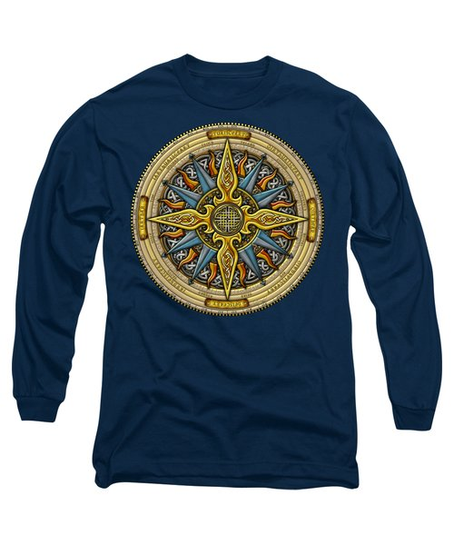 Long Sleeve T-Shirt featuring the mixed media Celtic Compass by Kristen Fox