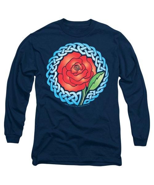 Long Sleeve T-Shirt featuring the mixed media Celtic Rose Stained Glass by Kristen Fox
