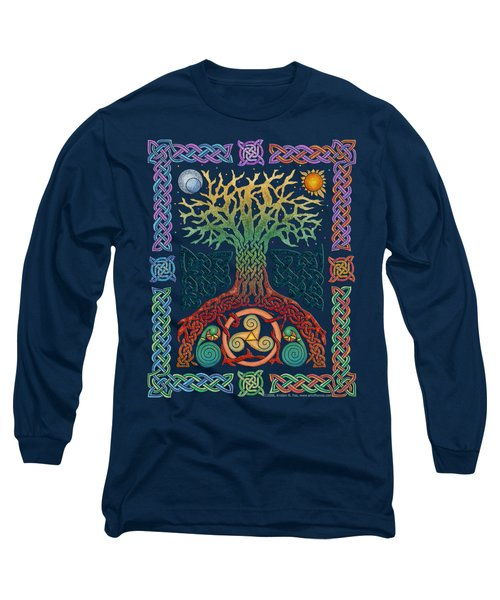Long Sleeve T-Shirt featuring the mixed media Celtic Tree Of Life by Kristen Fox