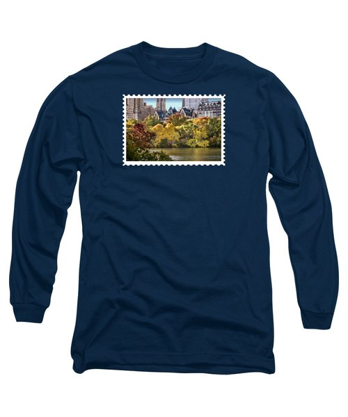 Central Park Lake In Fall Long Sleeve T-Shirt by Elaine Plesser