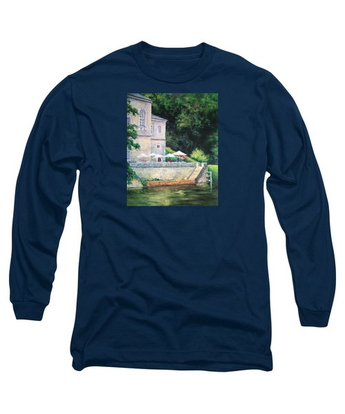 Chateau On The Lot River Long Sleeve T-Shirt by Jill Musser