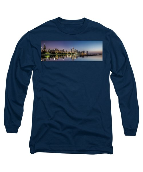 Chicago Skyline At Dawn With A Panoramic Crop  Long Sleeve T-Shirt