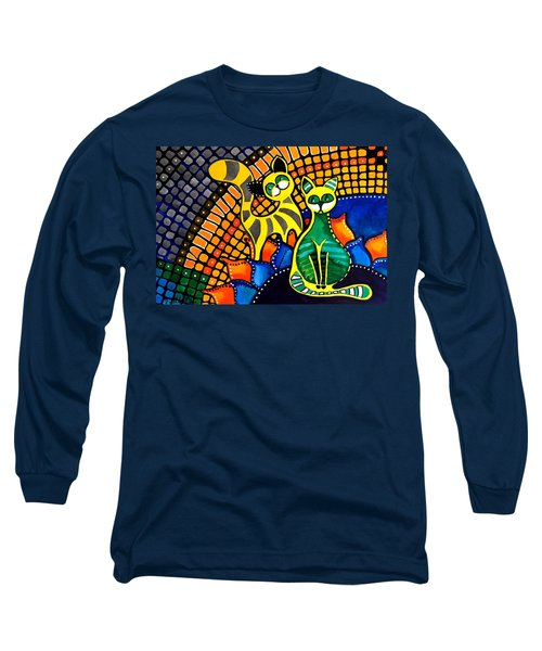 Long Sleeve T-Shirt featuring the painting Cheer Up My Friend - Cat Art By Dora Hathazi Mendes by Dora Hathazi Mendes