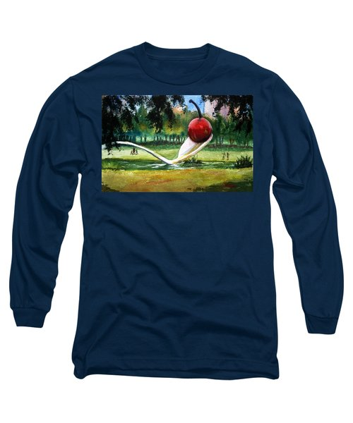Long Sleeve T-Shirt featuring the painting Cherry And Spoon by Marilyn Jacobson