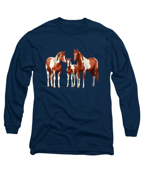 Chestnut Paint Horses In Winter Pasture Long Sleeve T-Shirt
