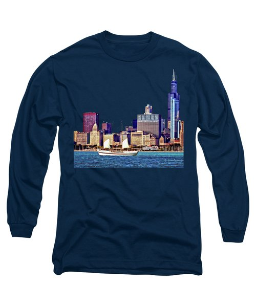 Chicago Il - Schooner Against Chicago Skyline Long Sleeve T-Shirt