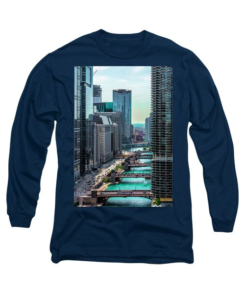 Chicago River From Londonhouse Chicago Dsc2290 Long Sleeve T-Shirt by Raymond Kunst