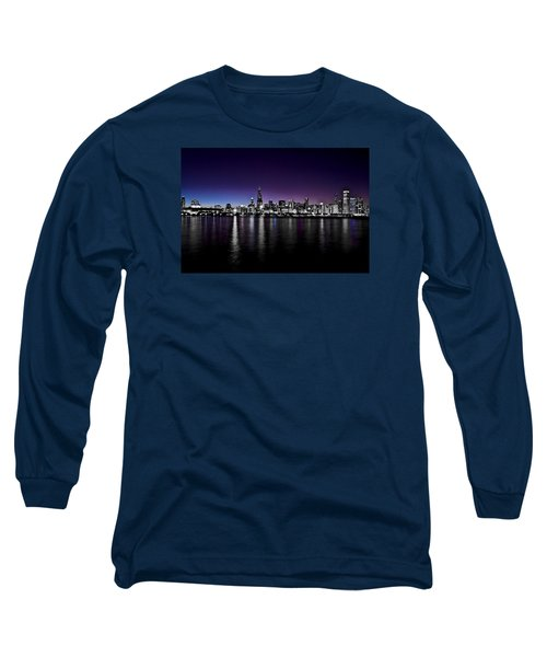 Long Sleeve T-Shirt featuring the photograph Chicago Skyline Bnw With Blue-purple by Richard Zentner
