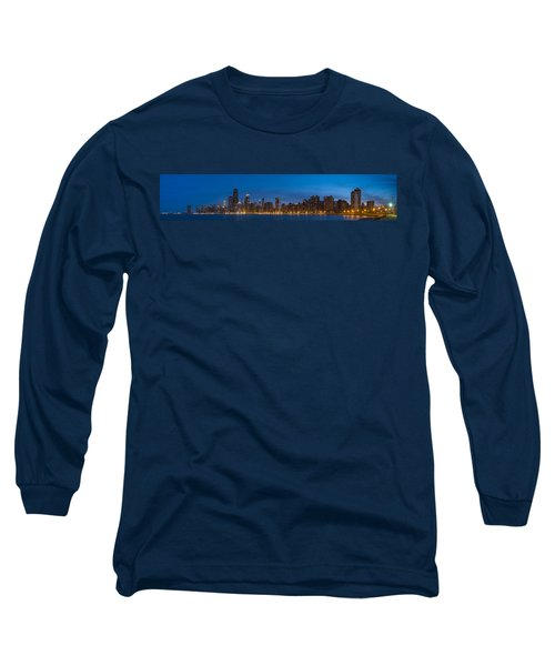 Chicago Skyline From North Ave Beach Panorama Long Sleeve T-Shirt