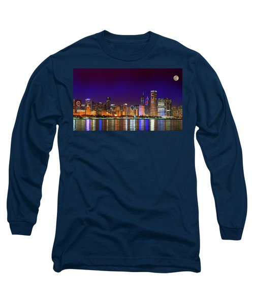 Chicago Skyline With Cubs World Series Lights Night, Moonrise, Lake Michigan, Chicago, Illinois Long Sleeve T-Shirt