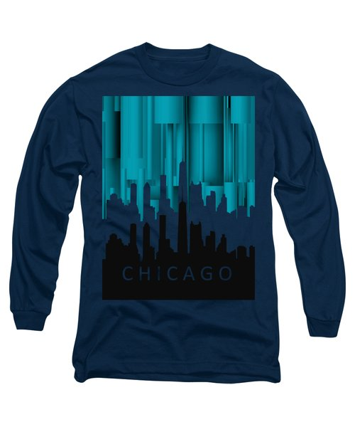 Chicago Turqoise Vertical In Negetive Long Sleeve T-Shirt by Alberto RuiZ